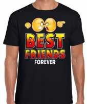 Funny emoticon t-shirt yes best friends forever zwart heren