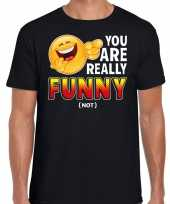 Funny emoticon t-shirt you are really funny not zwart heren