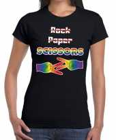 Gaypride rock paper scissors t-shirt zwart dames