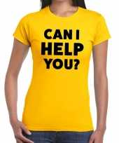 Geel tekst-shirt can i help you bedrukking dames