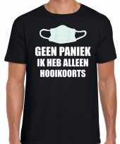 Geen paniek ik heb alleen hooikoorts t-shirt zwart heren