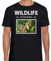 Giraf t-shirt dieren foto wildlife of the world zwart heren