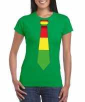 Groen t-shirt limburgse vlag stropdas dames