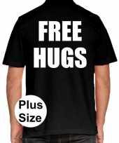 Grote maten free hugs polo shirt zwart heren