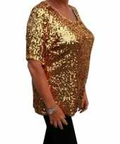 Grote maten gouden glitter pailletten disco shirt dames xl