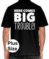 Grote maten here comes big trouble polo shirt zwart heren