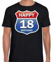 Happy birthday 18 jaar verjaardag t-shirt route bordje zwart heren