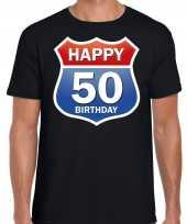 Happy birthday 50 jaar abraham verjaardag t-shirt route bordje zwart heren