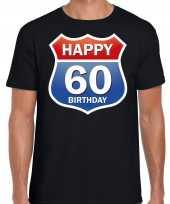 Happy birthday 60 jaar verjaardag t-shirt route bordje zwart heren