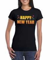 Happy new year t-shirt zwart dames