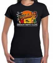 Hawaii feest t-shirt shirt aloha beach boys club zwart dames