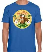 Hawaii feest t-shirt shirt aloha hawaii blauw heren