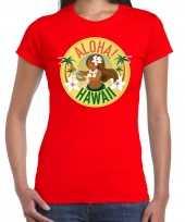 Hawaii feest t-shirt shirt aloha hawaii rood dames