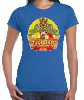 Hawaii feest t-shirt shirt tiki bar aloha blauw dames