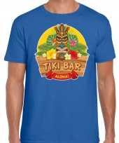 Hawaii feest t-shirt shirt tiki bar aloha blauw heren