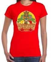 Hawaii feest t-shirt shirt tiki bar aloha rood dames
