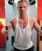 Heren bodybuilders shirt wit