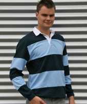 Heren rugbyshirt navy lichtblauw
