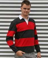 Heren rugbyshirt zwart rood