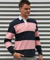 Heren rugbyshirts navy roze