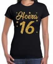 Hoera 16 jaar verjaardag cadeau t-shirt goud glitter zwart dames