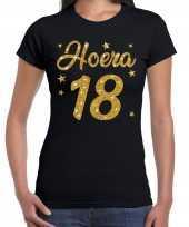 Hoera 18 jaar verjaardag cadeau t-shirt goud glitter zwart dames
