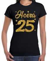 Hoera 25 jaar verjaardag jubileum cadeau t-shirt goud glitter zwart dames