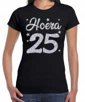 Hoera 25 jaar verjaardag jubileum cadeau t-shirt zilver glitter zwart dames