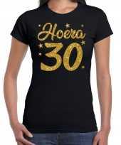 Hoera 30 jaar verjaardag jubileum cadeau t-shirt goud glitter zwart dames