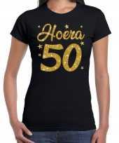 Hoera 50 jaar verjaardag cadeau t-shirt goud glitter zwart dames