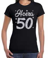 Hoera 50 jaar verjaardag cadeau t-shirt zilver glitter zwart dames