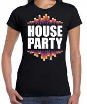 House party fun tekst t-shirt zwart dames