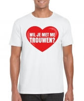 Huwelijksaanzoek t-shirt wil je me trouwen wit heren