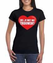 Huwelijksaanzoek t-shirt wil je me trouwen zwart dames