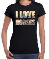 I love horses paarden dieren t-shirt zwart dames