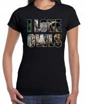 I love owls uilen dieren t-shirt zwart dames