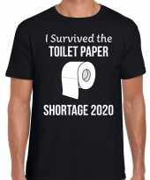 I survived the toilet papier shortage tekst t-shirt zwart heren