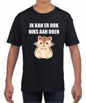 Ik kan er ook niks aan doen hamsteren t-shirt zwart kindere