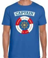 Kapitein captain verkleed t-shirt blauw heren