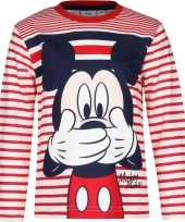 Kindershirt mickey mouse wit rood
