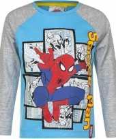 Kindershirt spiderman blauw grijs