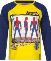 Kindershirt spiderman geel blauw