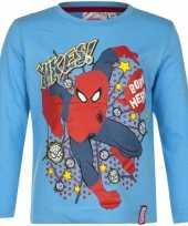 Kindershirt spiderman licht blauw