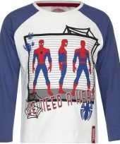 Kindershirt spiderman wit blauw