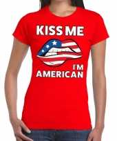 Kiss me i am american t-shirt rood dames