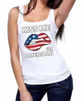 Kiss me i am american tanktop mouwloos shirt wit dames