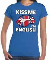 Kiss me i am english t-shirt blauw dames