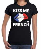 Kiss me i am french t-shirt zwart dames