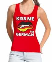 Kiss me i am german tanktop mouwloos shirt rood dames