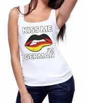 Kiss me i am german tanktop mouwloos shirt wit dames